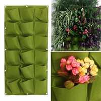 18 Pocket Vertical Greening Hang Wall Garden Seedling Plant Grow Bag Planter