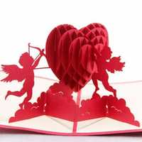 Heart Cupidon 3D Pop Up Greeting Card Valentine Proposal Wedding Party Greeting Invitation Card