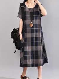 Women Short Sleeve O-neck Plaid Mid-long Dress