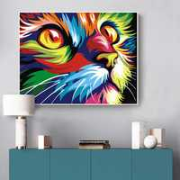 Digital Diy Oil Painting By Numbers Wall Decor On Canvas Oil Paint Coloring By Number Drawing Animals God Cat Deer Picture