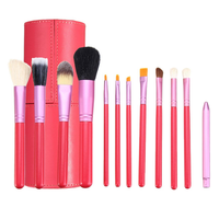 12pcs Pink Makeup Cosmetic Brush Set Blush Eyeliner Brush Cylinder Container Leather Case Aluminum