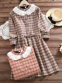 Mori Girl Plaid Drawstring Waist Dress