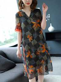 Semi-sheer Floral print Button V-neck Dress