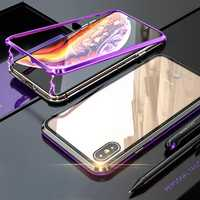 Bakeey Protective Case for iPhone XS Max Magnetic Adsorption Metal+Clear Tempered Glass Cover