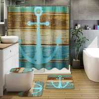 3Pcs Retro Old Style Anchor Non-Slip Bathroom Carpet Toilet Seat Cover Bath Mat Creative Set