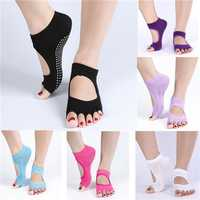 1 Pair Cotton Yoga Socks Half Toe Ankle Grip Durable Five Finger No-Slip