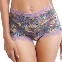 Women Soft Lace Floral Printing Silk Panty
