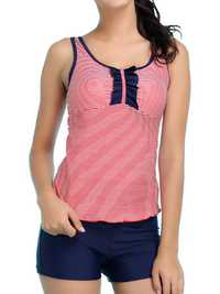 Plus Size Cozy Back Key Hole Stripe Elastic Vest Tankini