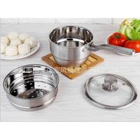 2 Tier 304 Stainless Steel Steamer Milk Pan Soup Pot Boiler Induction Universal Cookware