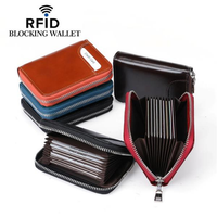 RFID Men And Women Genuine Leather 12 Card Slot Wallet