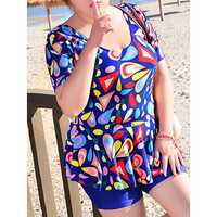 High Waisted Printing Bathing Suit Boyshorts Swimdress