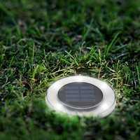 Solar Powered 8 LED Buried Lamp Round Underground Light Waterproof Outdoor Pathway Garden Yard Lawn