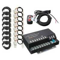 160W 12V 8 HID Bulbs Hide A Way Emergency Hazard Warning Strobe Light System Kit