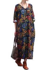 Women Loose Cotton Linen Retro Printing 3/4 Sleeve Dress