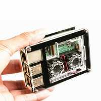 3-in-1 9 Layers Acrylic Case + Dual Fan + Copper Heatsink Kit For Raspberry Pi 3 Model B