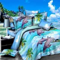 4pcs Polyester Fiber 3D Dolphin Ocean View Reactive Dyeing Bedding Sets Queen King Size Duvet Cover