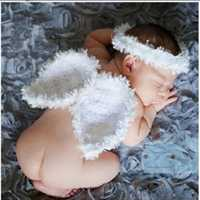 Newborn Baby Girls Boys Crochet Knit Costume Photography Wings Angel Headbands Hair Props Outfits