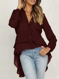Women Buttons V Neck High Low Blouse