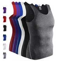 Pro Fitness Sports Tights Elastic Sleeveless Vest Mens Fast Dry Compression Tops Tees