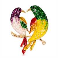 Sweet Birds Brooches Rhinestones Colorful Oil Painting Birds
