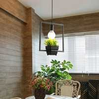 Industrial Iron E27 Plant Flower Pot Pendant Light Chandelier Hanging Lamp for Restaurant Bar Cafe