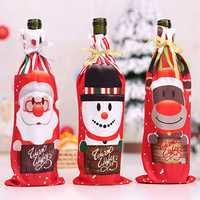 Table Decor Dinner Party Christmas Santa Tree Bottle Cover B