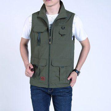 Mens Fashion Multi Pockets Solid Color Loose Fit Casual Vest