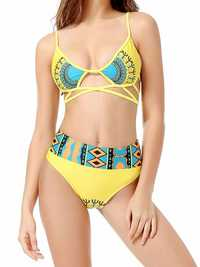 New Stylish Printing Criss Cross High Waist Bikini