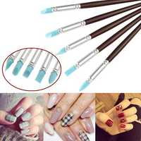 5pcs Silicone Head Nail Painting Sculpture Pen Wooden Aluminum Handle UV Gel Building Manicure Tool