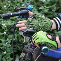 Men Women Breathable Silicone Non-slip Gloves Outdoor Sports Riding Half Finger Gloves