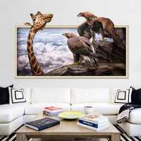 Miico Creative 3D Giraffe Eagles Frame PVC Removable Home Room Decorative Wall Door Decor Sticker