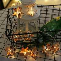 10 LED Fashion Novelty Metal Star Fairy String Lights Holiday Wedding Garden Party Lighting Decorations LED Iron Stars Light String Decorative Modeling Lantern