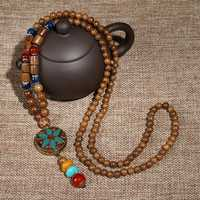 Vintage Ethnic Wood Beads Necklace Nepal Agate for Men Women