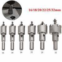 6pcs 16-32mm Steel Carbide Tipped Drill Bit Set Metal Hole Saw Alloy Cutter