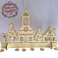Wooden Exquisite Hollow Sculpture Christmas Church House Ornaments Christmas Gifts Decorations
