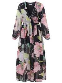 Women Sexy Maxi V-Neck Dress Floral Belted Waist Long Sleeve Dresses
