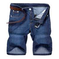 Plus Size Mens Summer Denim Washed Casual Slim Fit Knee Length Jeans Shorts