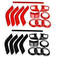 12pcs Car ABS Interior Decorative Trim Kit Moulding Trim Strip for Jeep Wrangler Cab 4Door 11-17