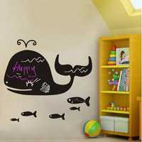 Cartoon Whale Blackboard Stickers DIY Removable Wall Stickers Kids Room Nursery Home Decor