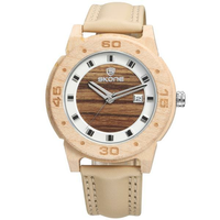 SKONE 3816 Fashion Men Wooden Watch Casual Leather Strap Sport Wrist Watch