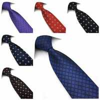 PenSee Mens Tie Jacquard Woven Silk Big Wave Point Necktie -Various Colors