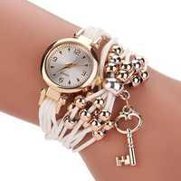Gold Case Leather Beading Strap Women Bracelet Quartz Watch