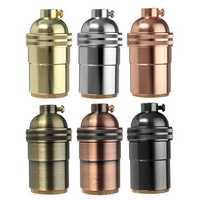 E26 E27 Retro Solid Brass Light Socket Keyless Vintage Industrial Lamp Holder Base AC110-250V