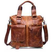 Ekphero® Retro Mens Bag Fashion Business Handbag Durable Real Leather Shoulder Bag