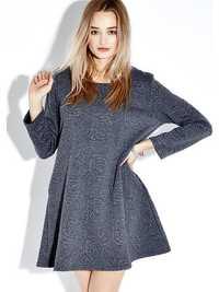Vintage Solid Floral O-Neck Long Sleeve Sweatshirt Dress