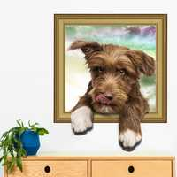 Creative Cartoon 3D Simulation Dog PVC Broken Wall Sticker DIY Removable Decor Waterproof Wall Stickers Household Home Wall Sticker Poster Mural Decoration for Bedroom Living Room
