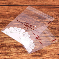 100Pcs Plastic Self Sealing Bag Wedding Birthday Cookie Candy Gift Packing Bags