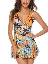 Split Skirt Lace-Up Back Print Swimdress