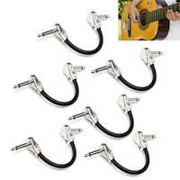 6Pcs Low Noise Guitar Effect Pedal Board Patch Cable Cord With Right Angle Plug