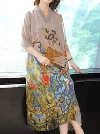 Elegant Floral Print V-neck Long Sleeve Vintage Dress